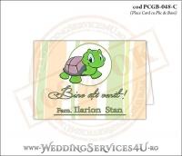 PCGB-048-C Place Card cu Plic de Bani sigilabil pentru Botez cu broscuta