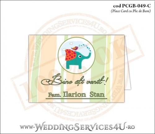 PCGB-049-C Place Card cu Plic de Bani sigilabil pentru Botez cu elefantel si vrabiuta