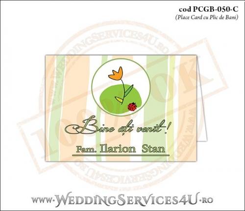 PCGB-050-C Place Card cu Plic de Bani sigilabil pentru Botez cu floare si gargarita