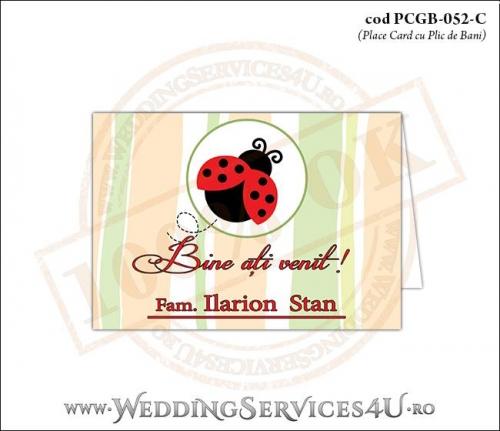PCGB-052-C Place Card cu Plic de Bani sigilabil pentru Botez cu gargarita in zbor