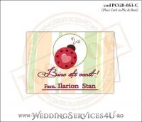 PCGB-053-C Place Card cu Plic de Bani sigilabil pentru Botez cu gargarita