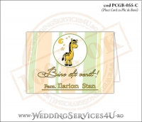 PCGB-055-C Place Card cu Plic de Bani sigilabil pentru Botez cu girafa