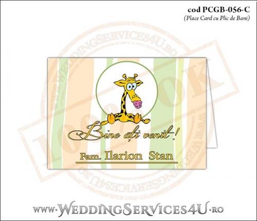 PCGB-056-C Place Card cu Plic de Bani sigilabil pentru Botez cu bebe girafa