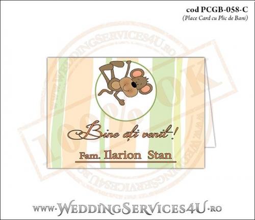 PCGB-058-C Place Card cu Plic de Bani sigilabil pentru Botez cu maimutica