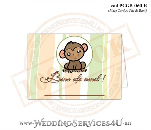 PCGB-060-B Place Card cu Plic de Bani sigilabil pentru Botez cu maimutica