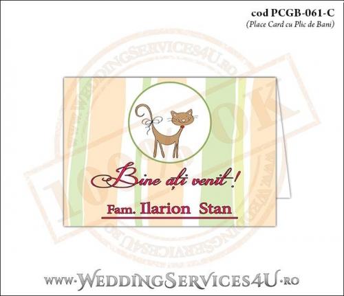 PCGB-061-C Place Card cu Plic de Bani sigilabil pentru Botez cu pisicuta