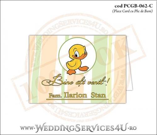 PCGB-062-C Place Card cu Plic de Bani sigilabil pentru Botez cu ratusca