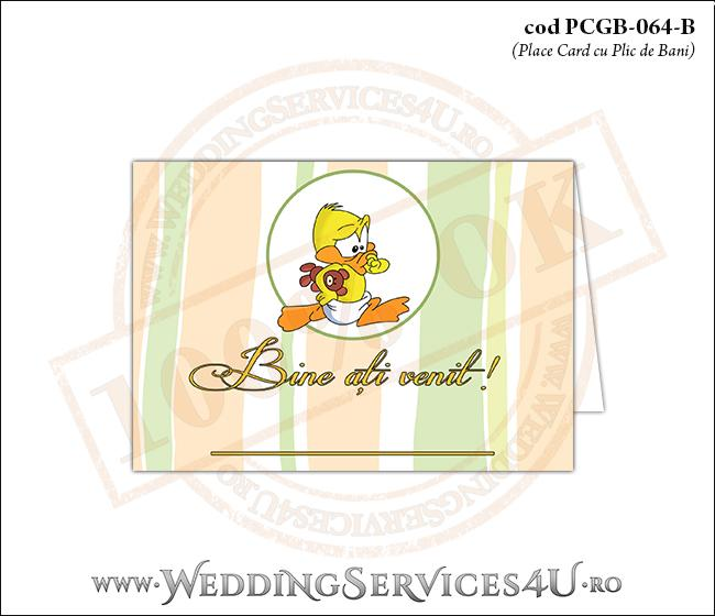 PCGB-064-B Place Card cu Plic de Bani sigilabil pentru Botez cu bebe ratusca
