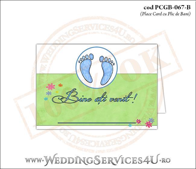 PCGB-067-B Place Card cu Plic de Bani sigilabil pentru Botez cu urme de pasi de copil si fundal cu 'gazon verde' si flori colorate
