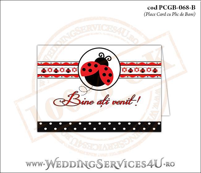 PCGB-068-B Place Card cu Plic de Bani sigilabil pentru Botez cu gargarita in zbor si motive traditionale romanesti