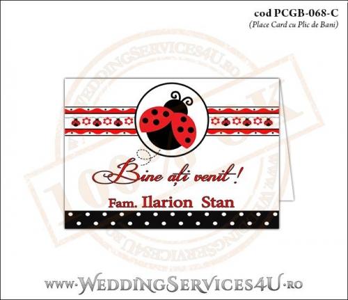 PCGB-068-C Place Card cu Plic de Bani sigilabil pentru Botez cu gargarita in zbor si motive traditionale romanesti