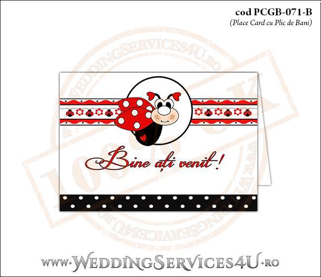 PCGB-071-B Place Card cu Plic de Bani sigilabil pentru Botez cu gargarita si motive traditionale romanesti
