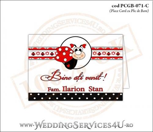 PCGB-071-C Place Card cu Plic de Bani sigilabil pentru Botez cu gargarita si motive traditionale romanesti