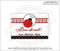 PCGB-072-C Place Card cu Plic de Bani sigilabil pentru Botez cu gargarita si motive traditionale romanesti
