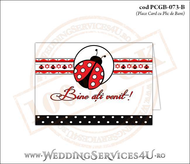 PCGB-073-B Place Card cu Plic de Bani sigilabil pentru Botez cu gargarita si motive traditionale romanesti