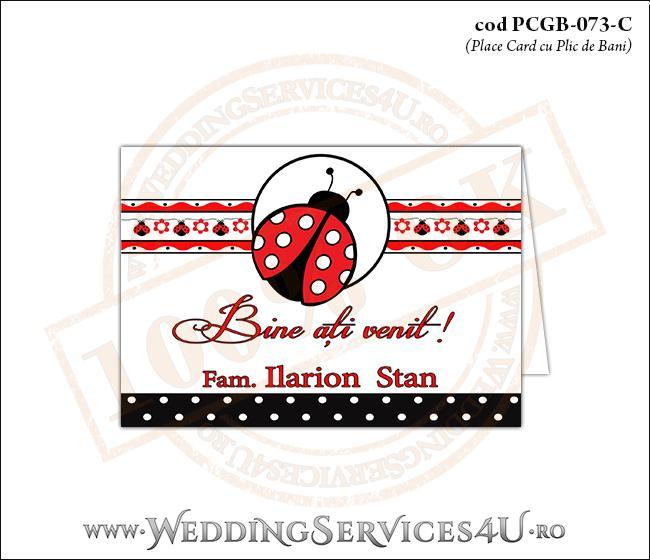 PCGB-073-C Place Card cu Plic de Bani sigilabil pentru Botez cu gargarita si motive traditionale romanesti