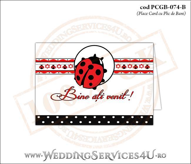 PCGB-074-B Place Card cu Plic de Bani sigilabil pentru Botez cu gargarita si motive traditionale romanesti