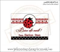 PCGB-074-C Place Card cu Plic de Bani sigilabil pentru Botez cu gargarita si motive traditionale romanesti