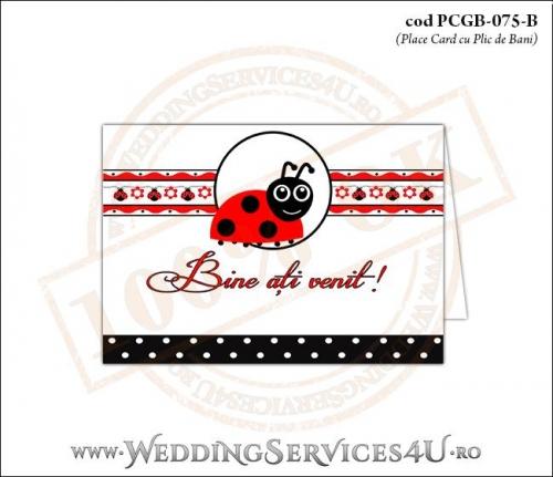 PCGB-075-B Place Card cu Plic de Bani sigilabil pentru Botez cu gargarita si motive traditionale romanesti
