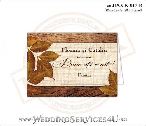 PCGN-017-B Place Card cu Plic de Bani sigilabil pentru Nunta sau Botez cu tematica de toamna