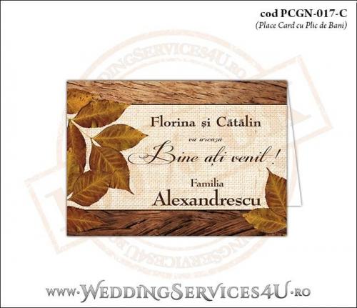 PCGN-017-C Place Card cu Plic de Bani sigilabil pentru Nunta sau Botez cu tematica de toamna