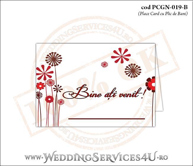 PCGN-019-B Place Card cu Plic de Bani sigilabil pentru Nunta sau Botez cu flori stilizate