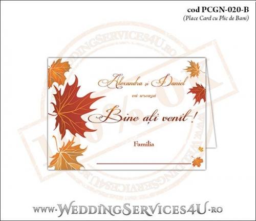 PCGN-020-B Place Card cu Plic de Bani sigilabil pentru Nunta sau Botez cu tematica de toamna