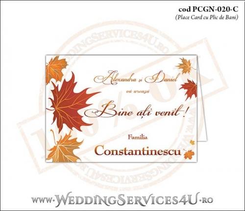 PCGN-020-C Place Card cu Plic de Bani sigilabil pentru Nunta sau Botez cu tematica de toamna