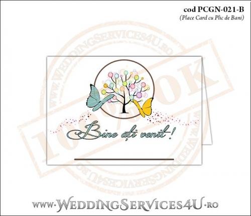 PCGN-021-B Place Card cu Plic de Bani sigilabil pentru Nunta sau Botez cu un copac mare din picaturi colorate de vopsea si doi fluturi pictati