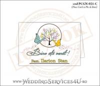 PCGN-021-C Place Card cu Plic de Bani sigilabil pentru Nunta sau Botez cu un copac mare din picaturi colorate de vopsea si doi fluturi pictati