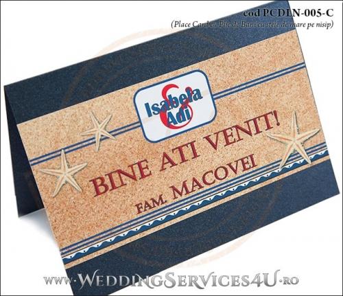 PCDLN-005-C-02 place card cu plic de bani nunta botez albastru marin cu tematica marina si stele de mare pe nisip