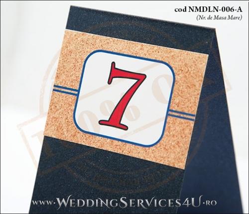 NMDLN-006-A-02 numar de masa albastru marin nunta botez cu tematica marina