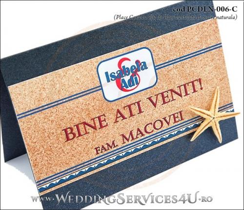 PCDLN-006-C-02 place card cu plic de bani nunta botez albastr marin cu tematica marina si steluta de mare naturala