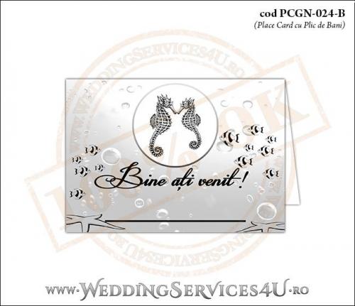 PCGN-024-B Place Card cu Plic de Bani sigilabil pentru Nunta sau Botez cu tematica marina (cu calut de mare, steluta de mare si pestisori)