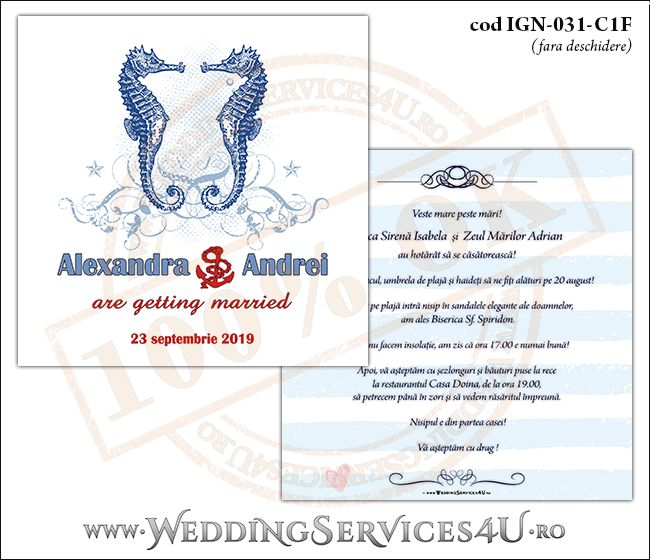 Invitatie Nunta Cod Ign 031 Weddingservices4uro Servicii