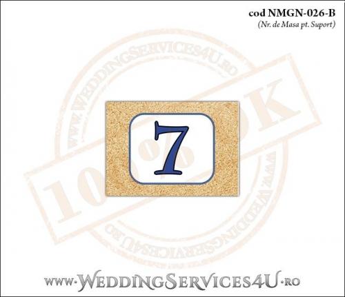 NMGN-026-B Numar de Masa pentru Nunta sau Botez cu tematica marina imprimat cu nisip de mare si dungi albastre
