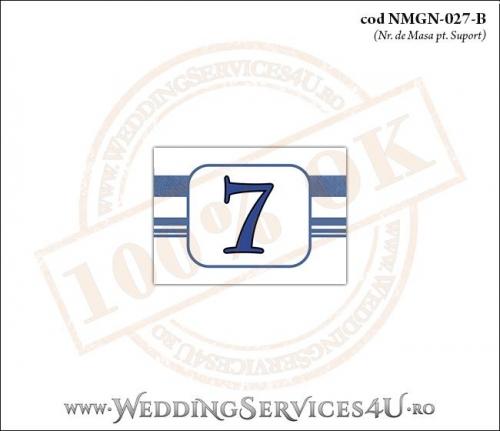 NMGN-027-B Numar de Masa pentru Nunta sau Botez cu tematica marina imprimat cu dungi albastre
