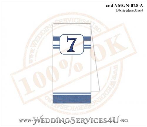 NMGN-028-A Numar de Masa pentru Nunta sau Botez cu dungi albastre
