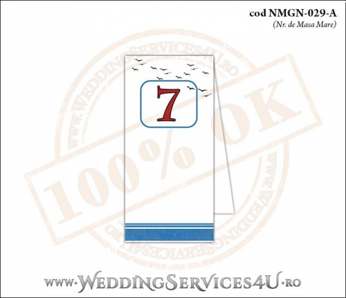 NMGN-029-A Numar de Masa pentru Nunta sau Botez cu dungi albastre si pasari stilizate in zbor
