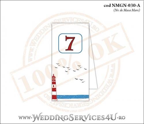 NMGN-030-A Numar de Masa pentru Nunta sau Botez cu tematica marina (cu far de mare si pasari stilizate in zbor)