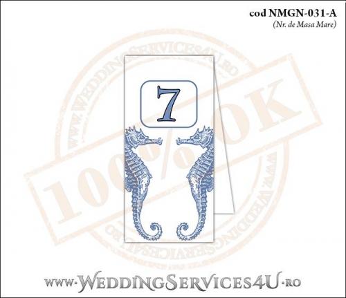 NMGN-031-A Numar de Masa pentru Nunta sau Botez cu tematica marina (cu caluti de mare)