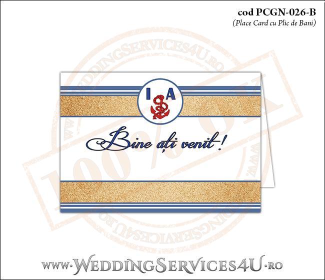 PCGN-026-B Place Card cu Plic de Bani sigilabil pentru Nunta sau Botez cu tematica marina (cu nisip de mare si dungi albastre)