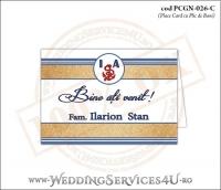PCGN-026-C Place Card cu Plic de Bani sigilabil pentru Nunta sau Botez cu tematica marina (cu nisip de mare si dungi albastre)