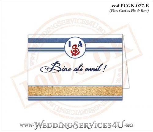PCGN-027-B Place Card cu Plic de Bani sigilabil pentru Nunta sau Botez cu tematica marina (cu nisip de mare si dungi albastre)