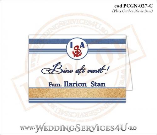 PCGN-027-C Place Card cu Plic de Bani sigilabil pentru Nunta sau Botez cu tematica marina (cu nisip de mare si dungi albastre)