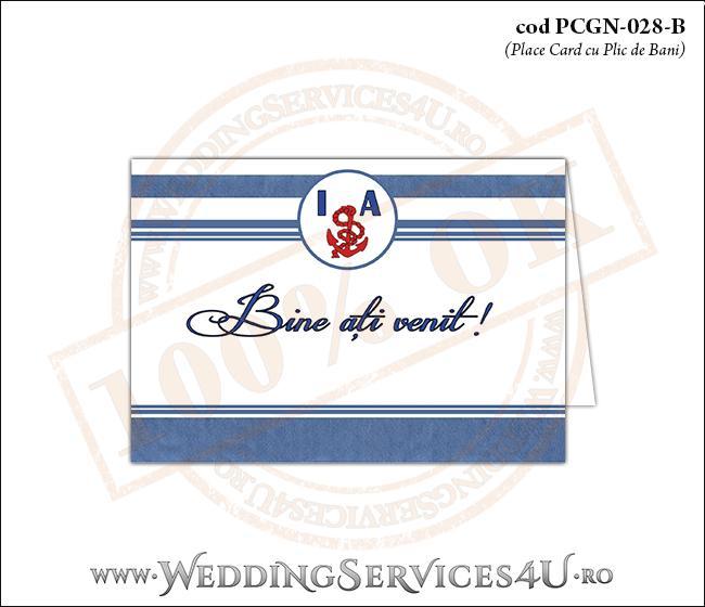 PCGN-028-B Place Card cu Plic de Bani sigilabil pentru Nunta sau Botez cu tematica marina (cu dungi albastre mediteraneene)