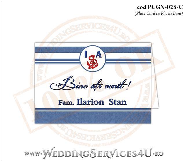 PCGN-028-C Place Card cu Plic de Bani sigilabil pentru Nunta sau Botez cu tematica marina (cu dungi albastre mediteraneene)