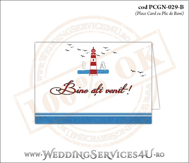 PCGN-029-B Place Card cu Plic de Bani sigilabil pentru Nunta sau Botez cu tematica marina (cu un far marin si pasari stilizate in zbor)