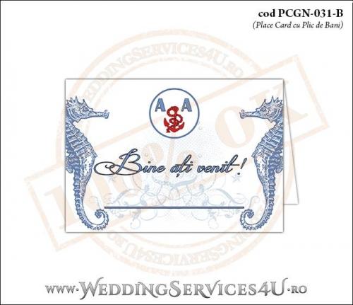 PCGN-031-B Place Card cu Plic de Bani sigilabil pentru Nunta sau Botez cu tematica marina (cu caluti de mare)