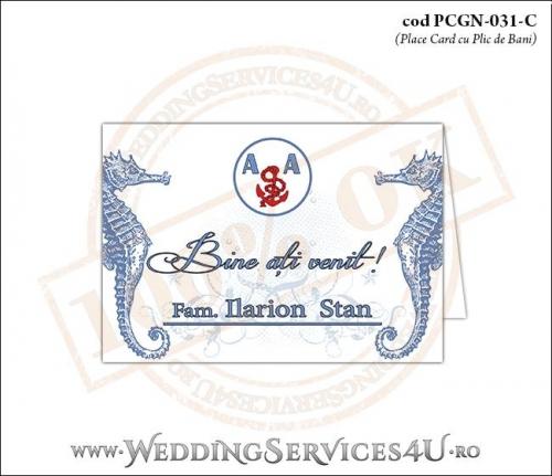PCGN-031-C Place Card cu Plic de Bani sigilabil pentru Nunta sau Botez cu tematica marina (cu caluti de mare)